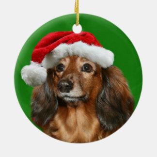 Dachshund Christmas Ceramic Ornament