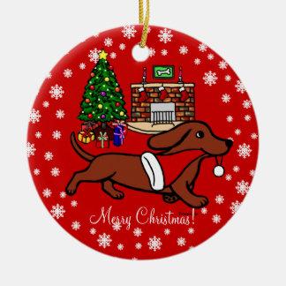 Dachshund Christmas Running Ceramic Ornament