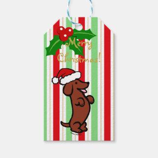 Dachshund Christmas Santa Hat Gift Tags