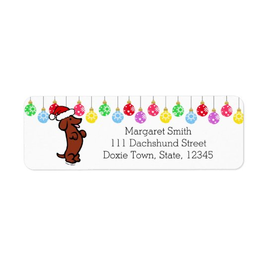 Dachshund Christmas Santa Hat Labels