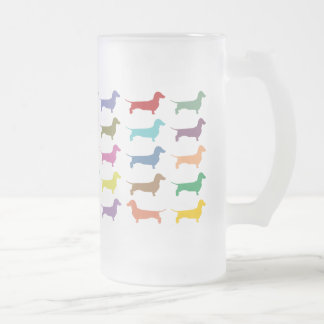 Dachshund Confetti Frosted Glass Beer Mug