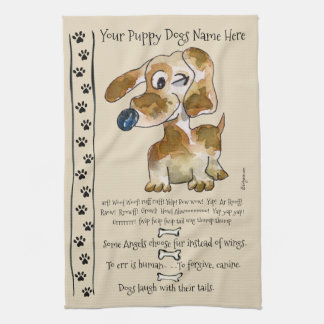 Dachshund Crossbreed Cartoon Dog Quotes Kitchen Towel