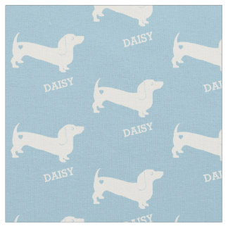 Dachshund Dog and Heart with Name Fabric