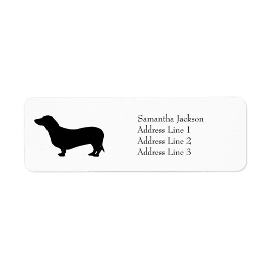 Dachshund dog black silhouette cute custom return address label