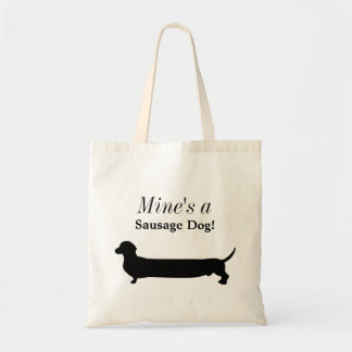 Dachshund dog black silhouette funny custom tote bag