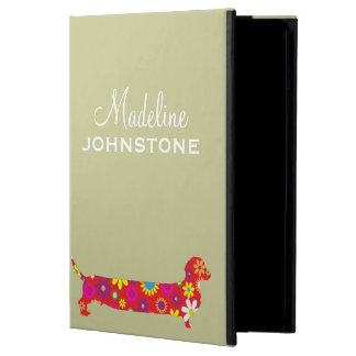 Dachshund dog floral funny cartoon custom name iPad air case
