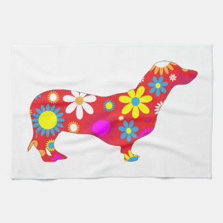 Dachshund dog funk retro floral flowers colorful tea towel