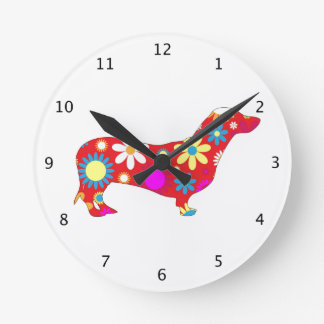 Dachshund dog funky floral retro flowery colorful round clock