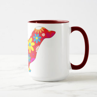 Dachshund dog funky retro floral flowers colorful