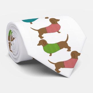 Dachshund Dog In Sweater Pattern Fun Tie