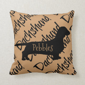 Dachshund Dog Silhouette Custom Pillow Cushion