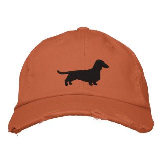 Dachshund Dog Silhouette Embroidered Hat