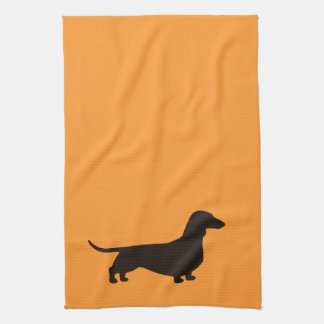 Dachshund Dog Silhouette Tea Towel