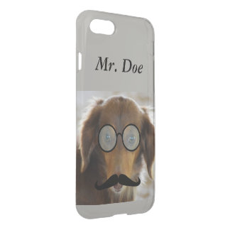 Dachshund dog wears glasses mustache iPhone case