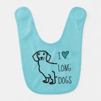 Dachshund Dog Wiener I Love Long Dogs Cute Hearts Bib