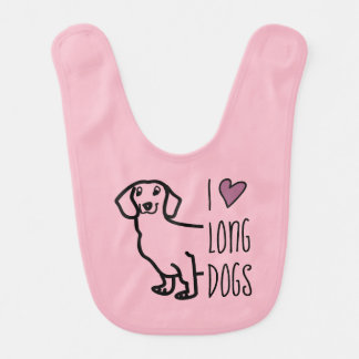 Dachshund Dog Wiener I Love Long Dogs Pink Hearts Bib