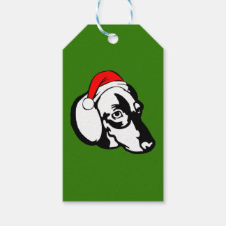 Dachshund Dog with Christmas Santa Hat Gift Tags