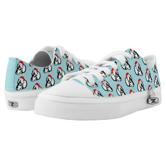 Dachshund Dog with Christmas Santa Hat Pattern Low Tops