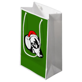Dachshund Dog with Christmas Santa Hat Small Gift Bag