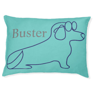 Dachshund Dog with glasses outline pet pillow bed