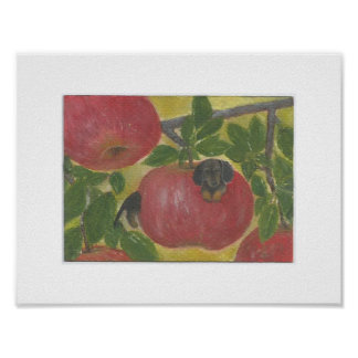 Dachshund dog worm in red apple tree Doxie Weenie Poster