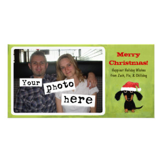 Dachshund Doggie Christmas Personalised Photo Card