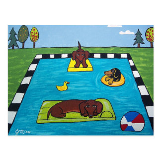 Dachshund Dogs Have a Pool Party Postcard