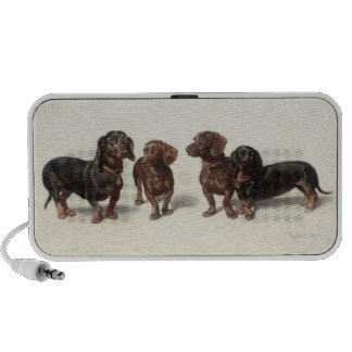 Dachshund dogs vintage art cute doodle speakers