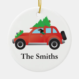 Dachshund driving a car w/ a Christmas tree on top Round Ceramic Decoration