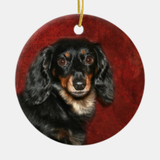 Dachshund face round ceramic decoration