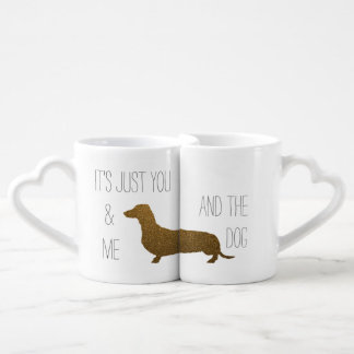 Dachshund Faux Gold Glitter | You Me and The Dog Couple Mugs