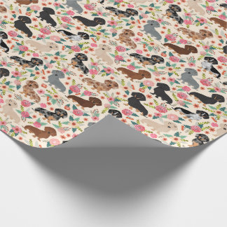 dachshund florals wrapping paper