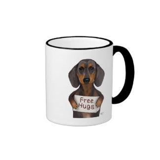 Dachshund Free Hugs Ringer Mug