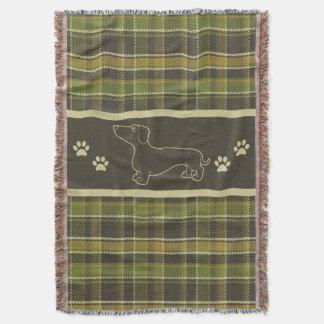 Dachshund Green Plaid Throw Blanket