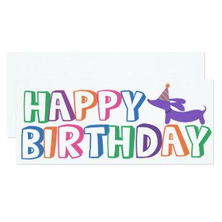 Dachshund Happy Birthday Card Long 10 Cm X 24 Cm Invitation Card