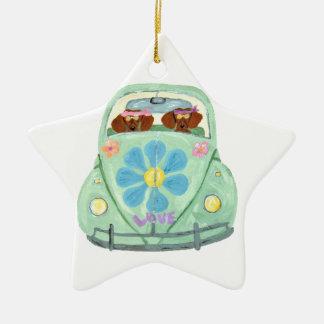 Dachshund Hippies In Their Flower Love Mobile Ceramic Ornament