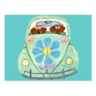 Dachshund Hippies In Their Flower Love Mobile Postcard