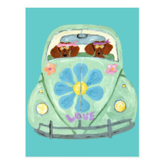 Dachshund Hippies In Their Flower Love Mobile Post Card