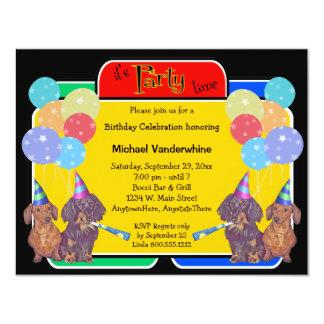 Dachshund Hound Birthday Barker 11 Cm X 14 Cm Invitation Card