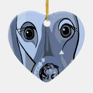 Dachshund in Blue Ceramic Heart Decoration