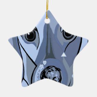 Dachshund in Blue Ceramic Star Decoration