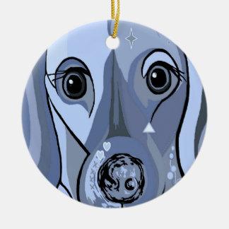 Dachshund in Blue Round Ceramic Decoration