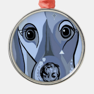 Dachshund in Blue Silver-Colored Round Decoration