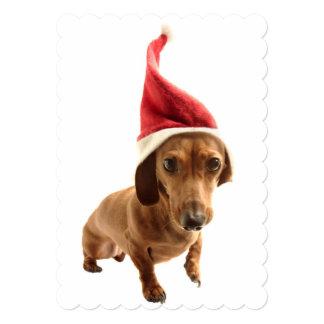 Dachshund in Santa hat 13 Cm X 18 Cm Invitation Card