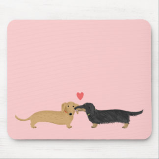 Dachshund Kiss with Heart on Pink Mouse Pad