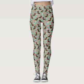 Dachshund leggings - doxie floral leggings