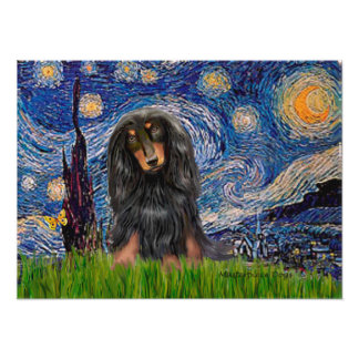 Dachshund (LHBT) - Starry Night Poster