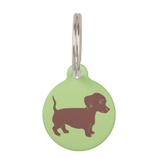Dachshund Light Green Custom Round Dog Name Tag