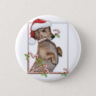 Dachshund Lilly's Candy Canes 6 Cm Round Badge