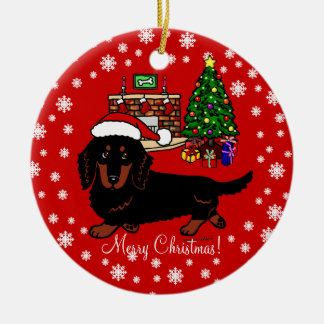 Dachshund Long Haired Black and Tan Ceramic Ornament